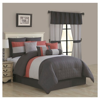 Coral & Gray Donovan Bed in a Bag Set (Queen)20pc