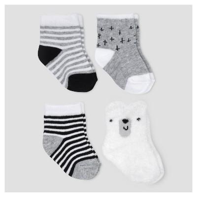 Baby 4pk Chenille Crew Socks - Cloud Island™ Gray 0-6M