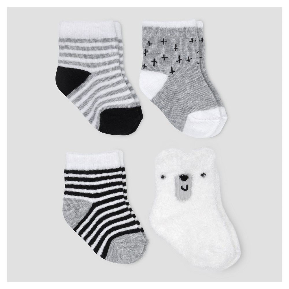 Baby 4pk Chenille Crew Socks - Cloud Island - Gray 0-6M, Infant Unisex
