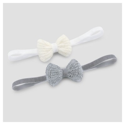 Baby 2pk Knit Bow Headwrap - Cloud Island™ - Gray 0-6M