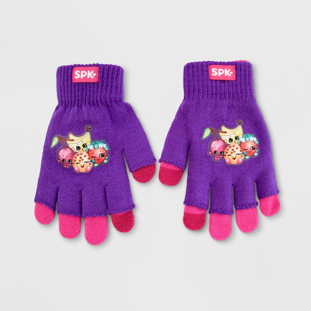 Girls Shopkins Texting Gloves - Purple/Pink
