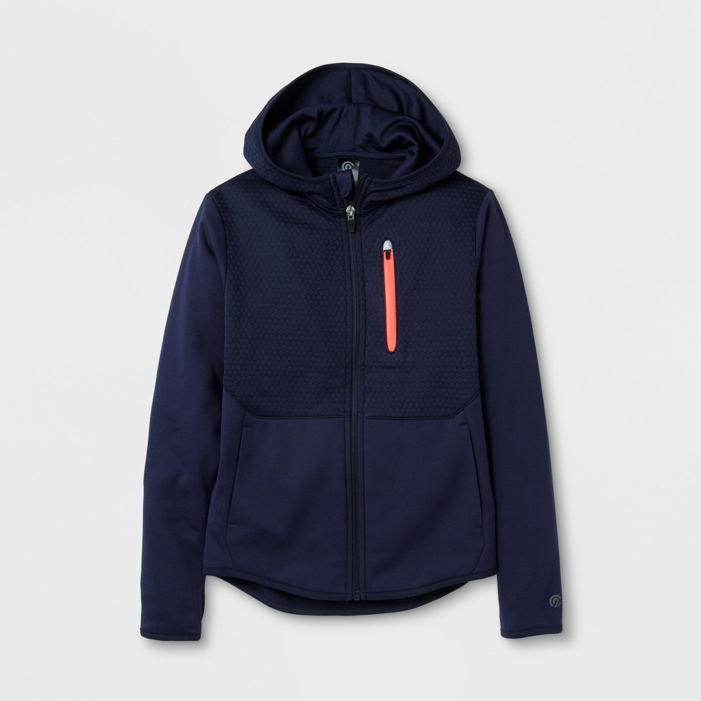 Boys Elevated Tech Fleece Full Zip Hoodie - C9 Champion - Navy (Blue) XS