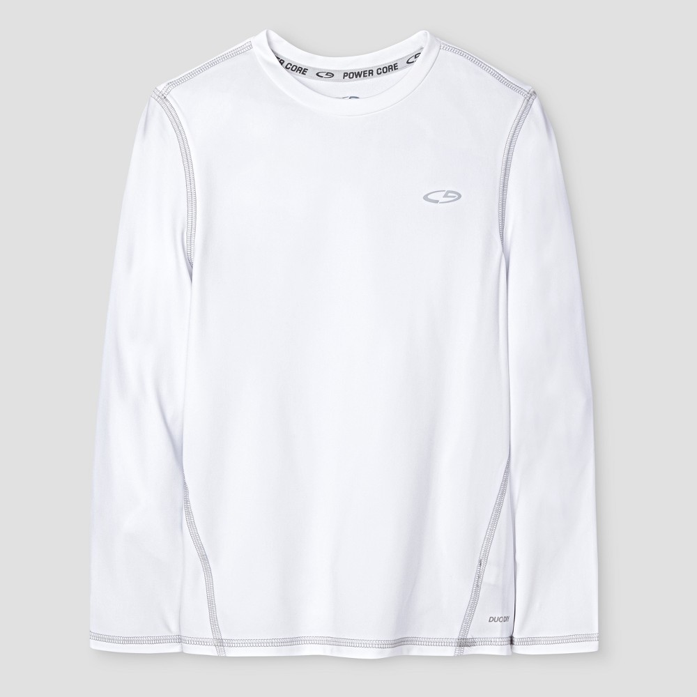 Boys Power Core Brushed Compression Long Sleeve Crew T-Shirt - C9 Champion - White XS