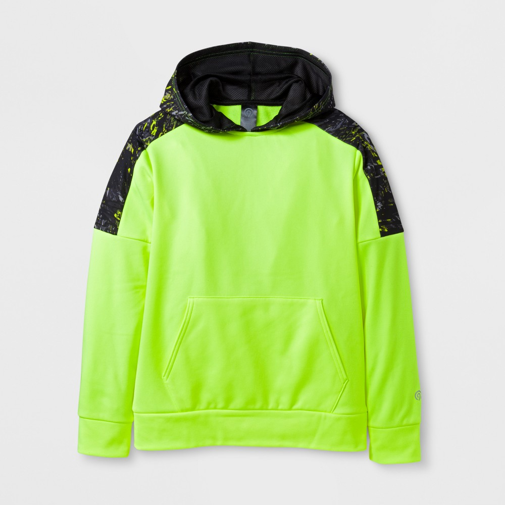 Boys' Printed Tech Fleece Pullover Hoodie - C9 Champion - Yellow Ripple Camo L