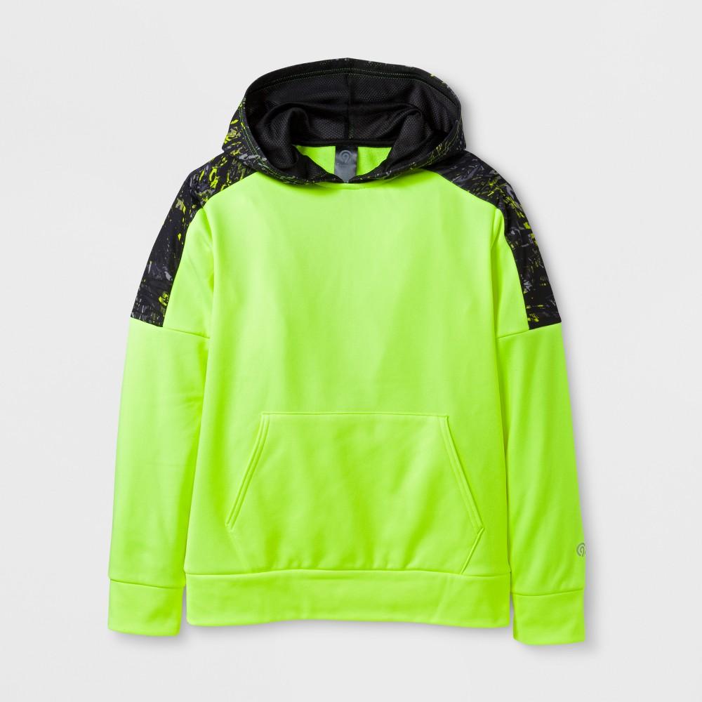 Boys Printed Tech Fleece Pullover Hoodie - C9 Champion - Yellow Ripple Camo L