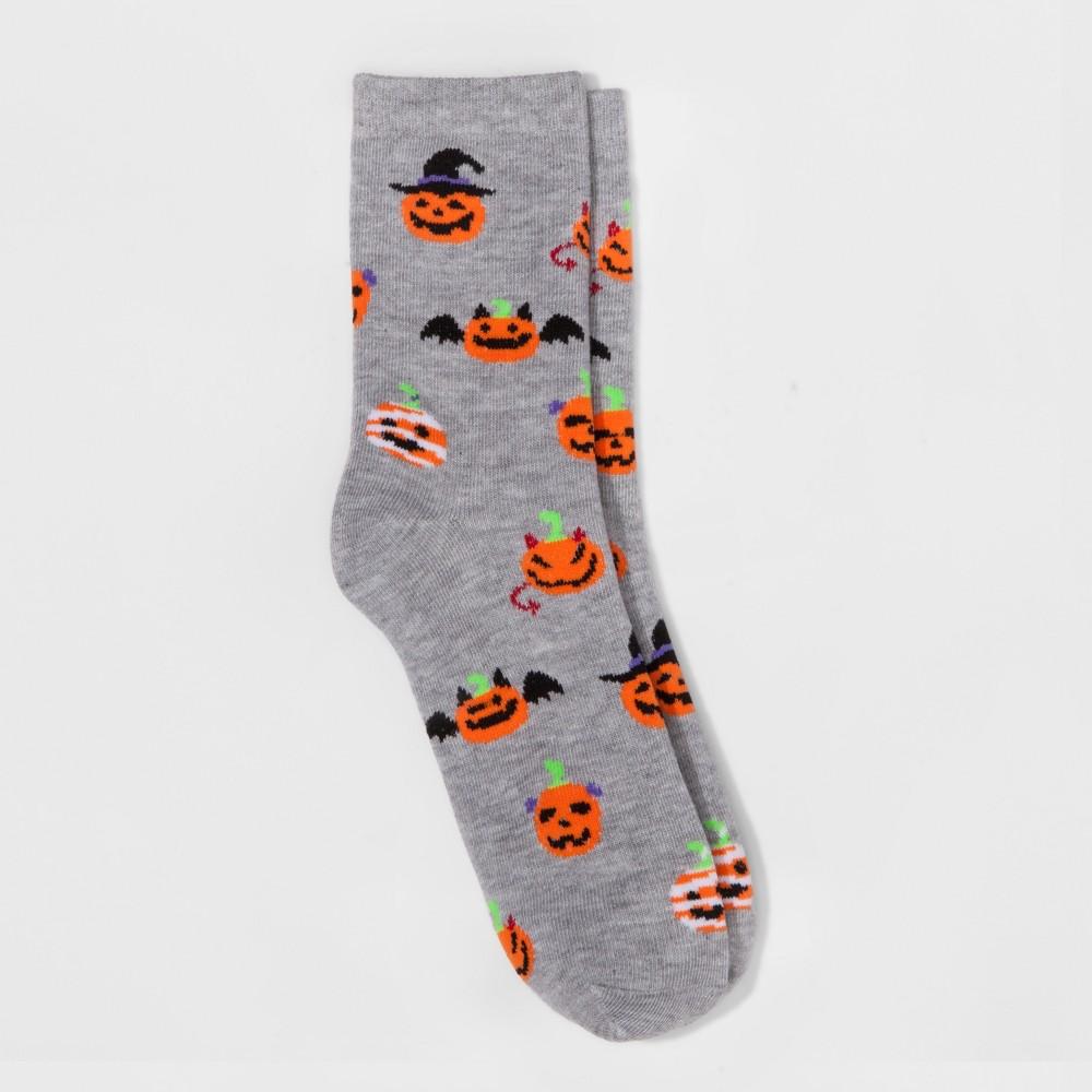 Womens Pumpkins Halloween Crew Socks - Merona Gray One Size