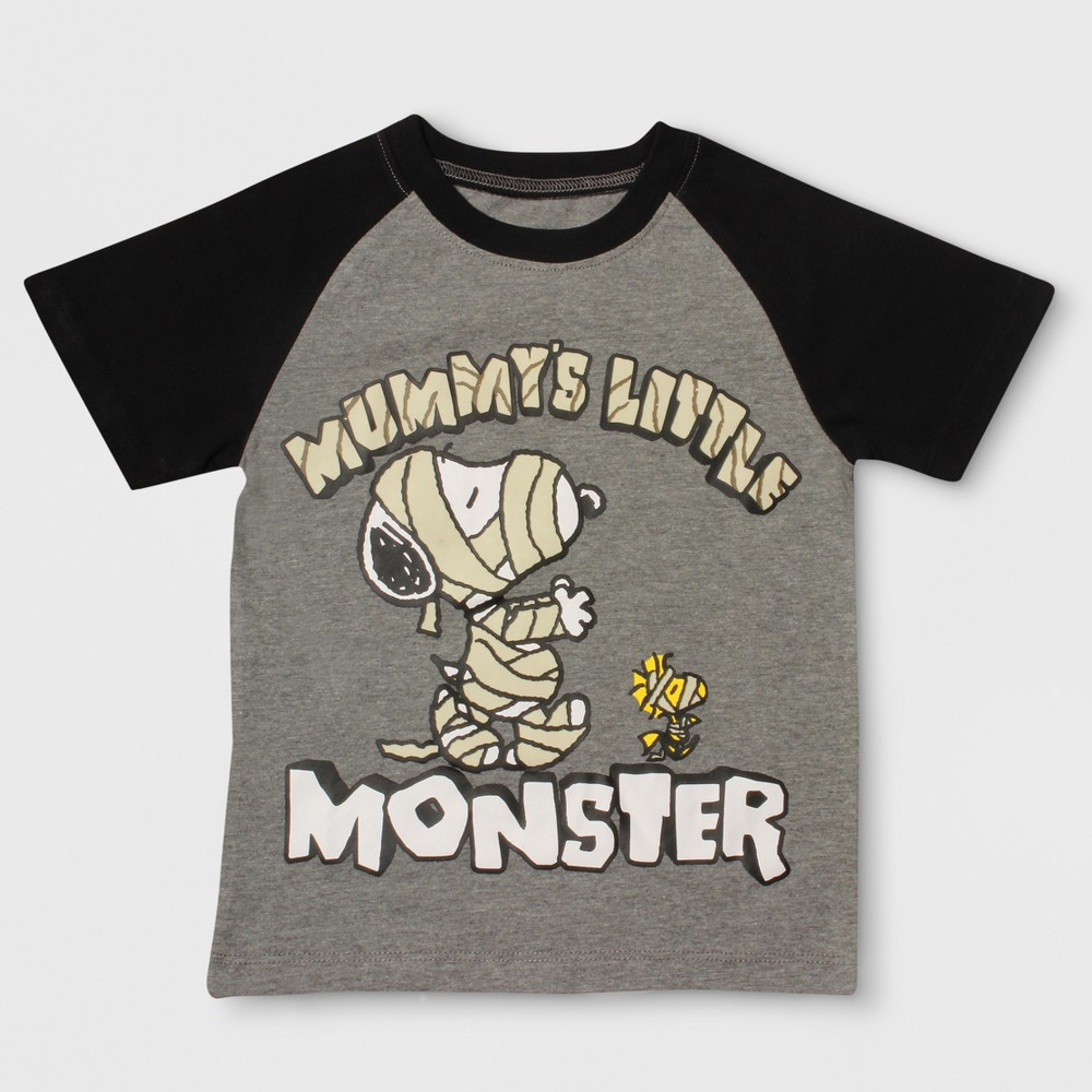 T-Shirt Peanuts Heather Gray 12 M, Toddler Boys, Size: 12 Months