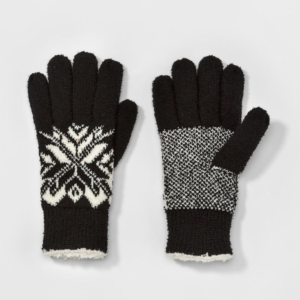Womens Smartouch Split Snowflake Knit Glove - Isotoner Black, Black/White
