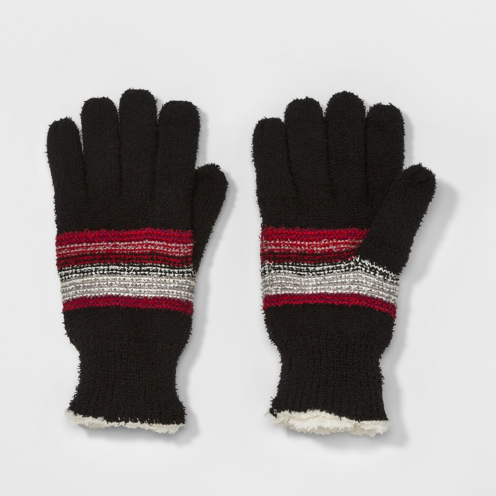 Womens Smartouch Stripe Knit Glove - Isotoner Black, Black/Red/White