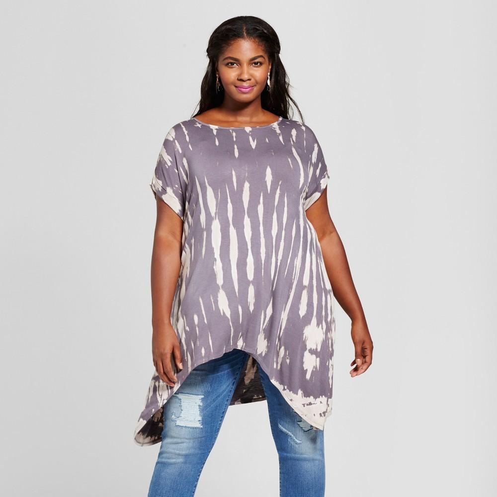 Womens Plus Size Sharkbite T-Shirt Tie Dye - Ava & Viv Gray 1X