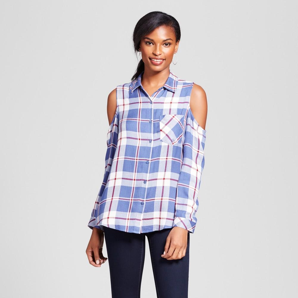 Womens Cold Shoulder Plaid Top - Como Black - Blue XL