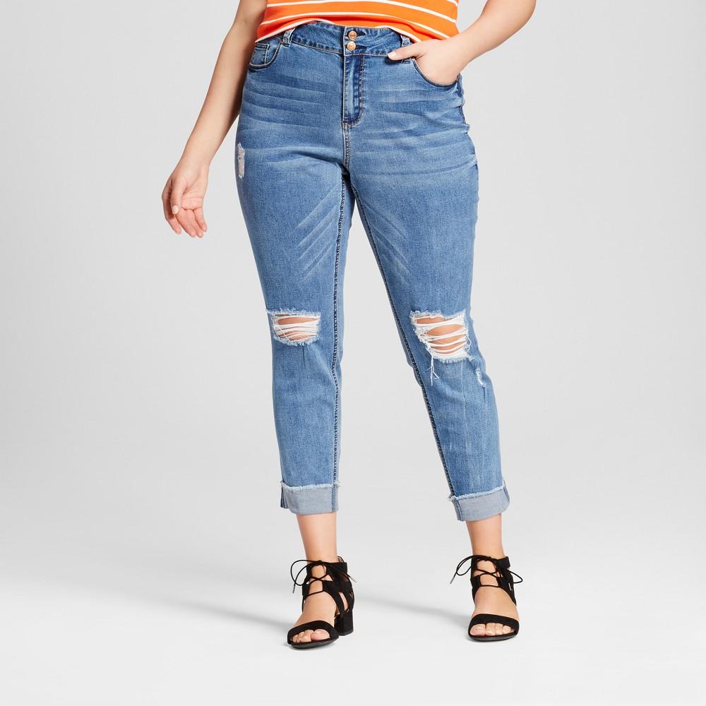 Womens Plus Size Destructed Denim Skinny Jeans - Almost Famous (Juniors) Medium Wash 18W, Blue