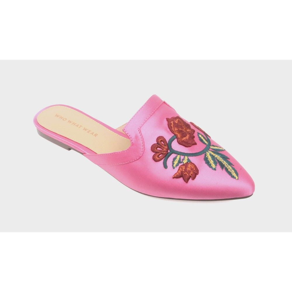Womens Serafina Embroidered Satin Flat Mules Who What Wear - Pink 10