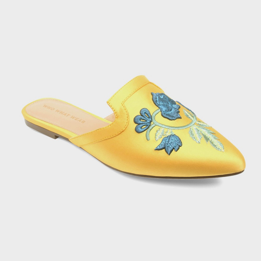 Womens Serafina Embroidered Satin Flat Mules Who What Wear - Mustard (Yellow) 10