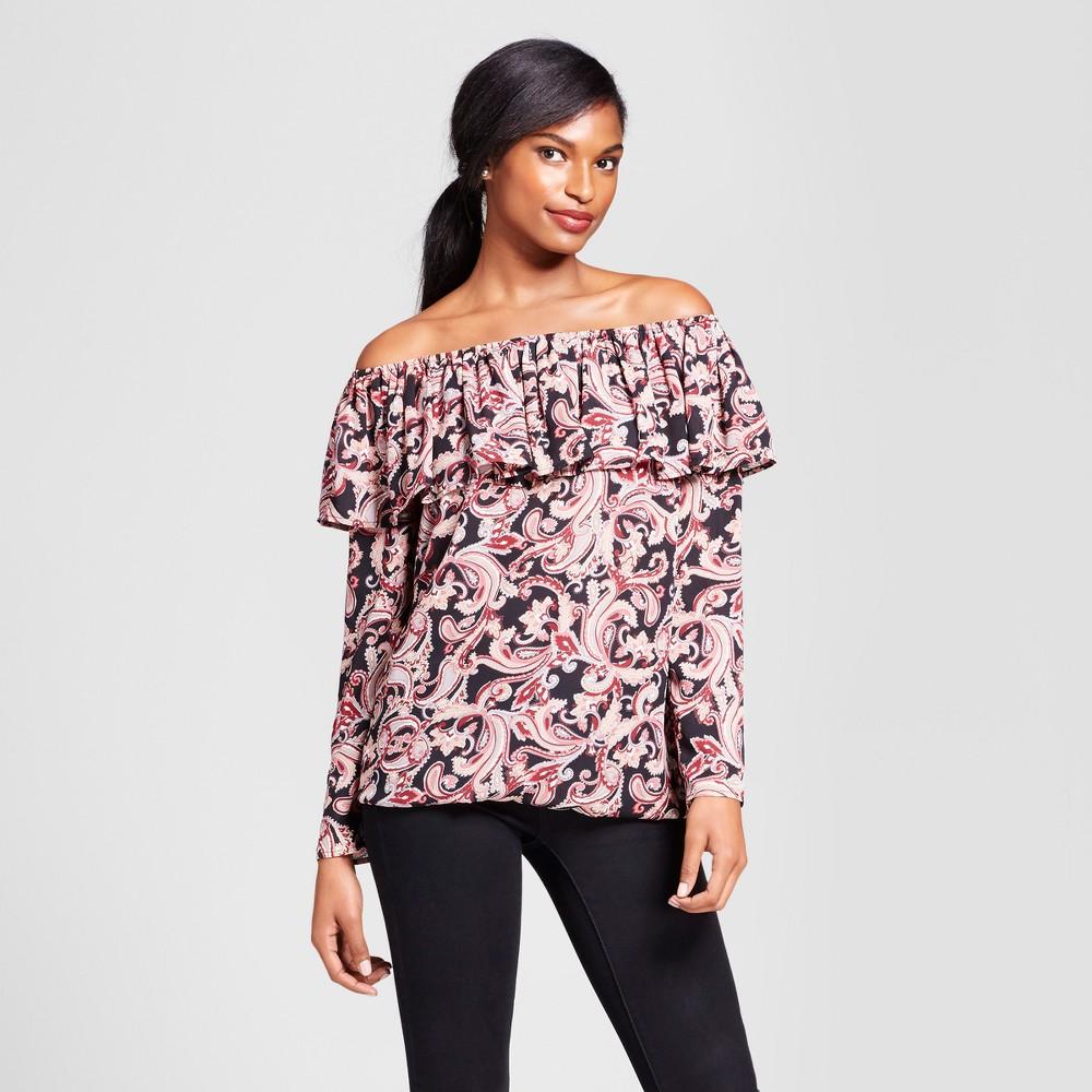 Womens Long Sleeve Off the Shoulder Printed Top - Como Black - Black Multi M