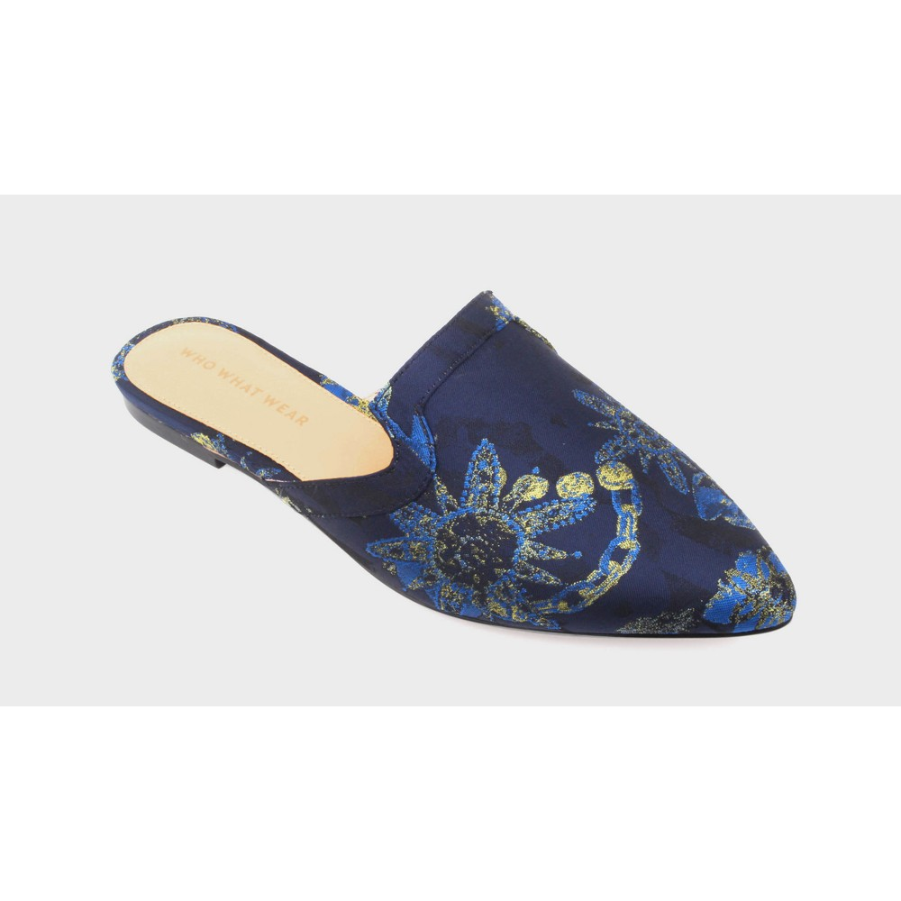 Womens Honor Brocade Flat Mules Who What Wear - Blue 9.5