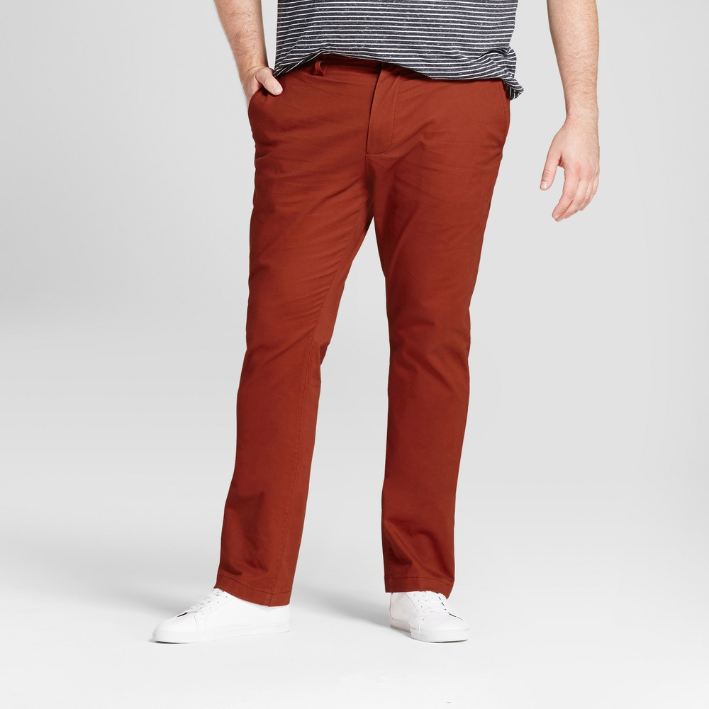 Mens Big & Tall Slim Fit Hennepin Chino Pants - Goodfellow & Co Rust (Red) 44x34