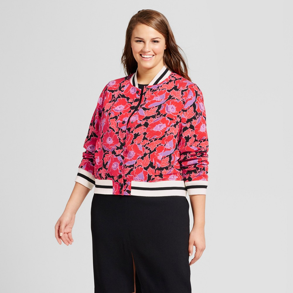 Womens Plus Size Varsity Bomber Jacket - Who What Wear Orange Floral 3X