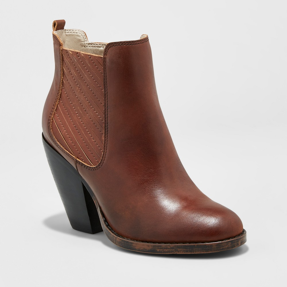 Womens Soho Cobbler Elemi Leather Side Gore Booties - Cognac (Red) 5.5