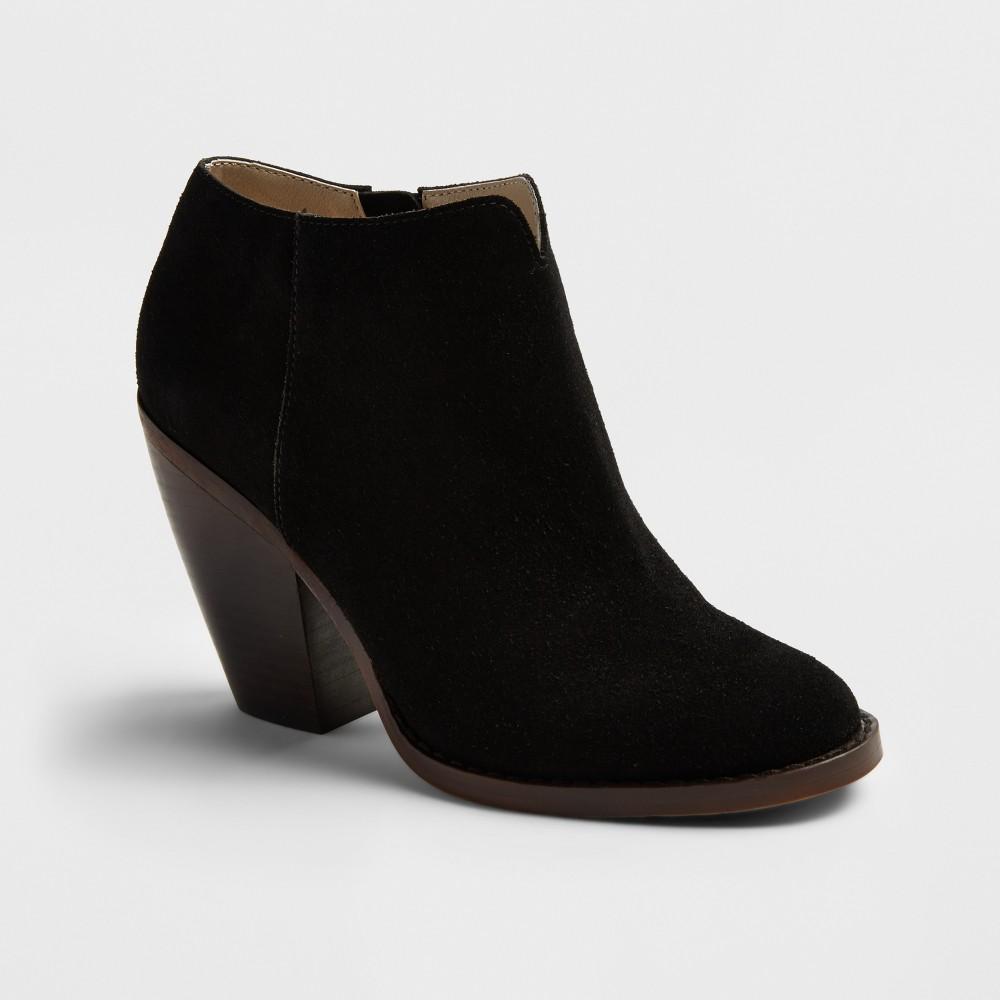 Womens Soho Cobbler Ember Notch Front Heeled Suede Booties - Black 7.5