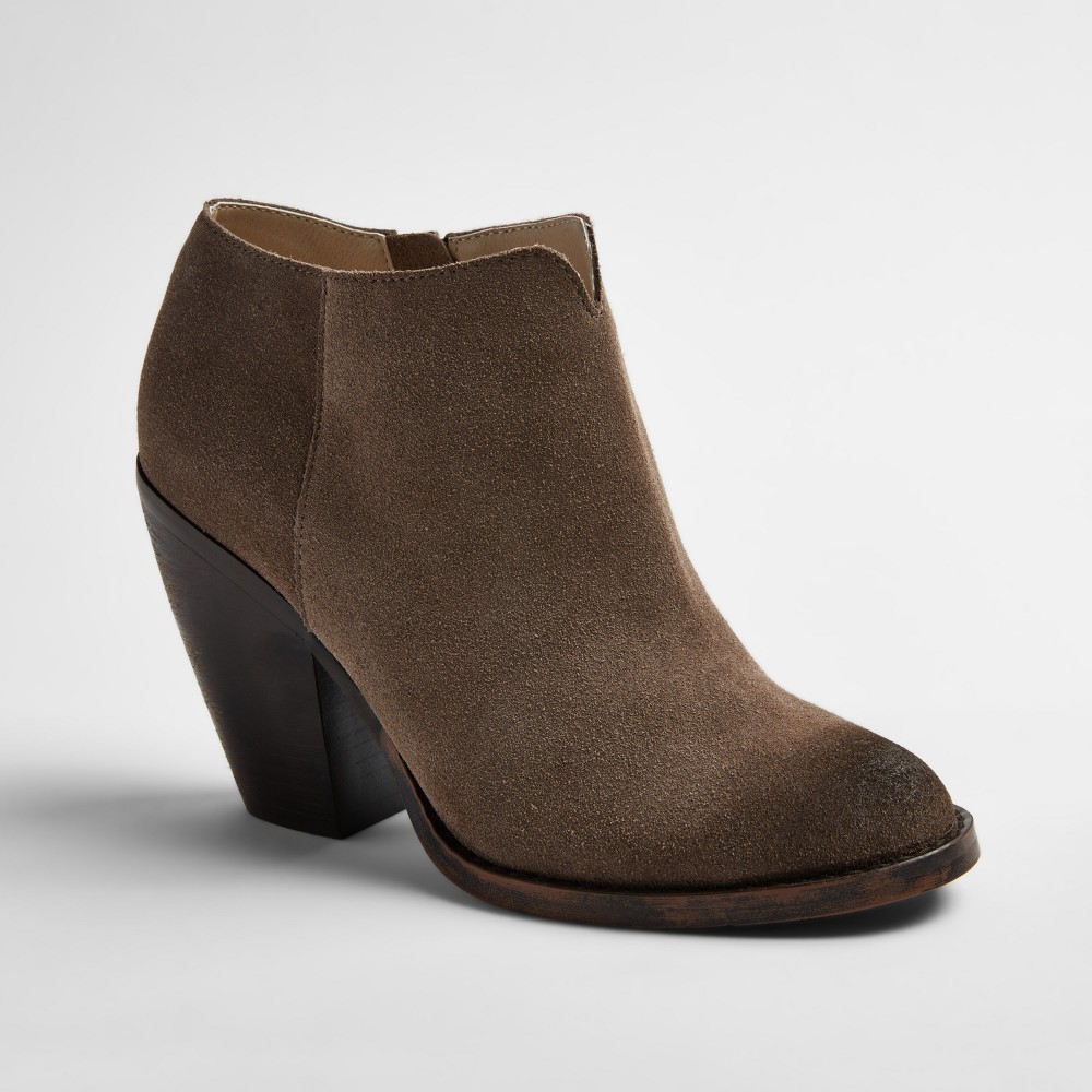 Womens Soho Cobbler Ember Notch Front Heeled Suede Booties - Light Taupe 9