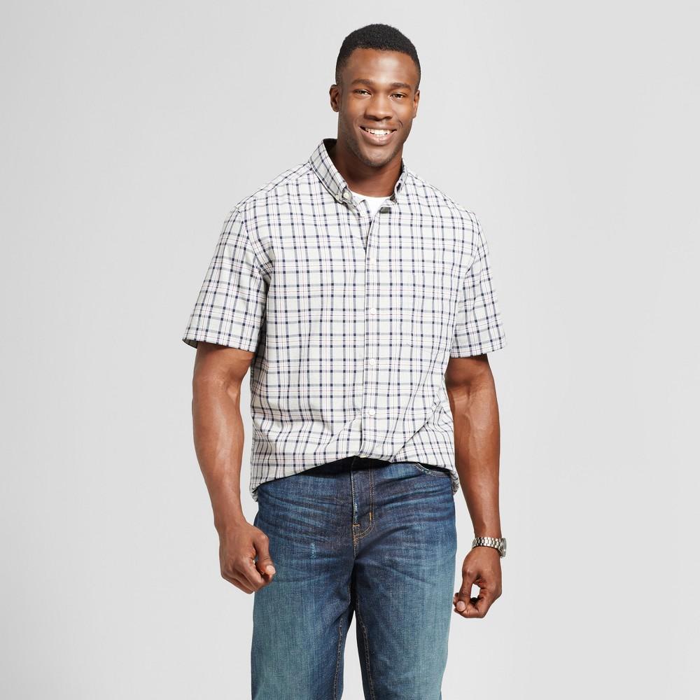 Mens Big & Tall Standard Fit Short Sleeve Button Down Shirt - Goodfellow & Co Gray/Red Plaid 2XBT