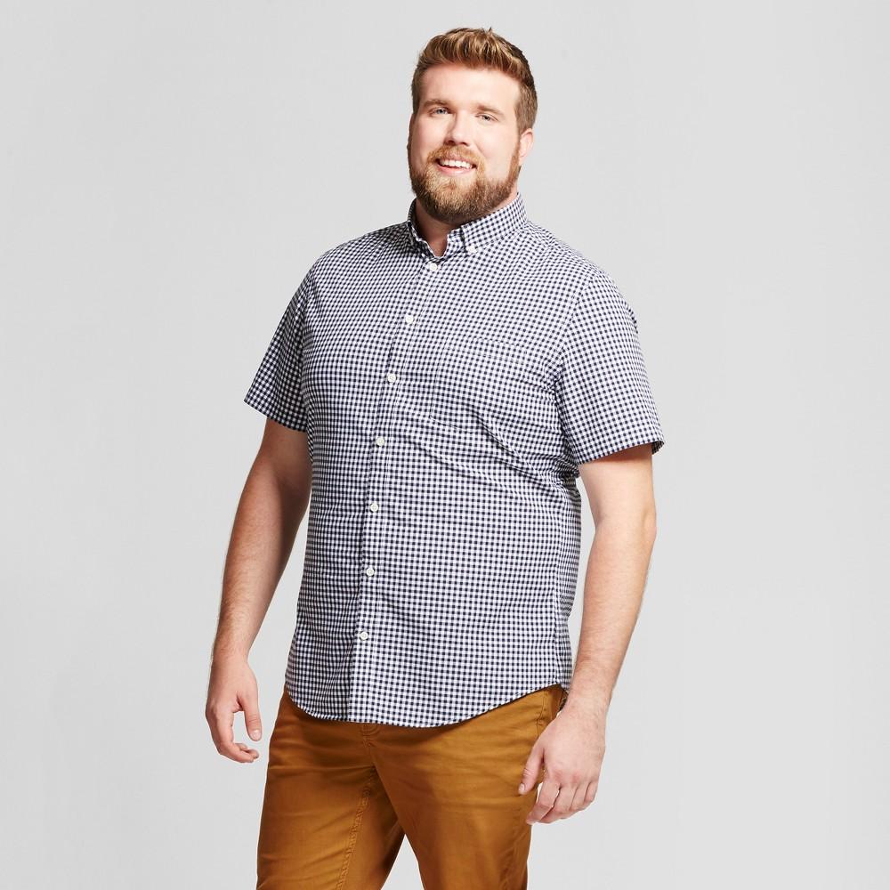 Mens Big & Tall Standard Fit Short Sleeve Button Down Shirt - Goodfellow & Co White-Blue 2XBT
