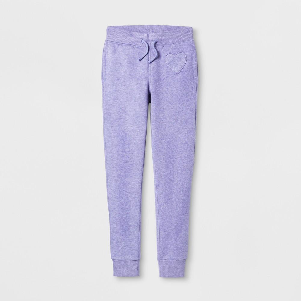 Girls Heart Patch Fleece Pants - Cat & Jack Purple M