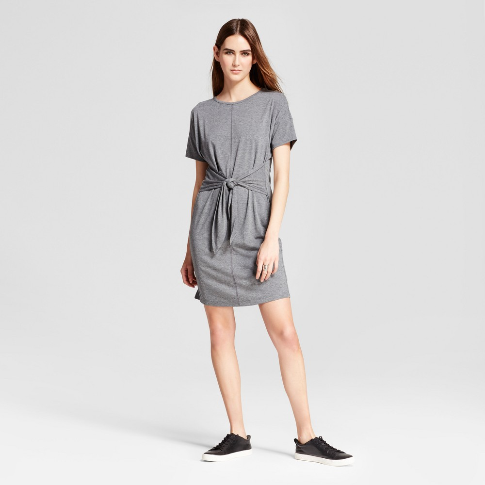 Womens Short Sleeve Tie Front Dress - Mossimo Gray L