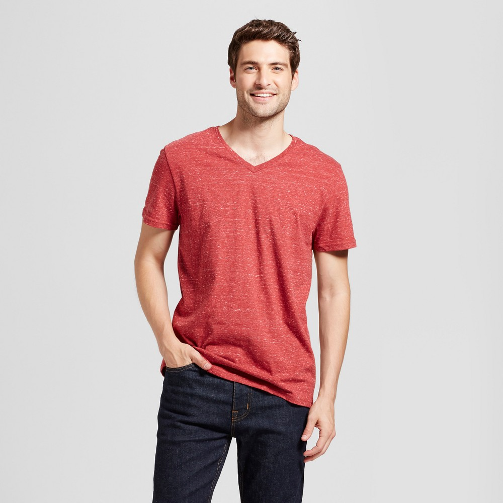 Mens Standard Fit Heathered Short Sleeve V-Neck T-Shirt - Goodfellow & Co Red S