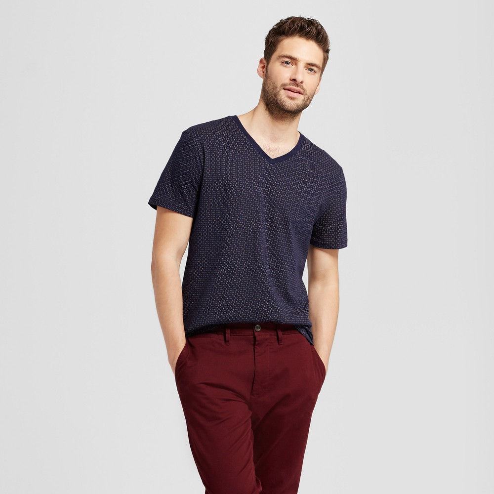 Mens Standard Fit Short Sleeve V-Neck T-Shirt - Goodfellow & Co Navy L, Blue