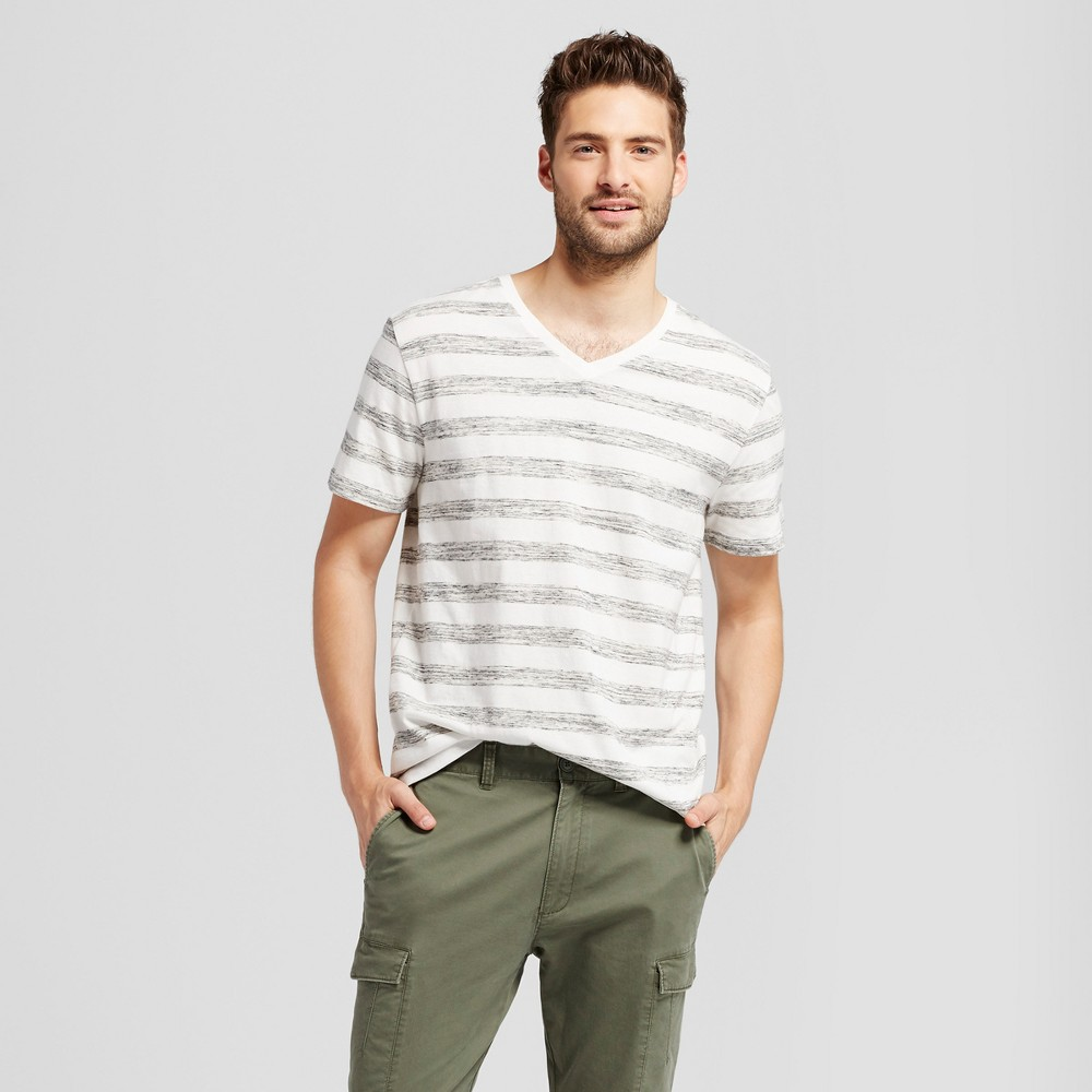 Mens Standard Fit Heathered Stripe Short Sleeve V-Neck T-Shirt - Goodfellow & Co White M
