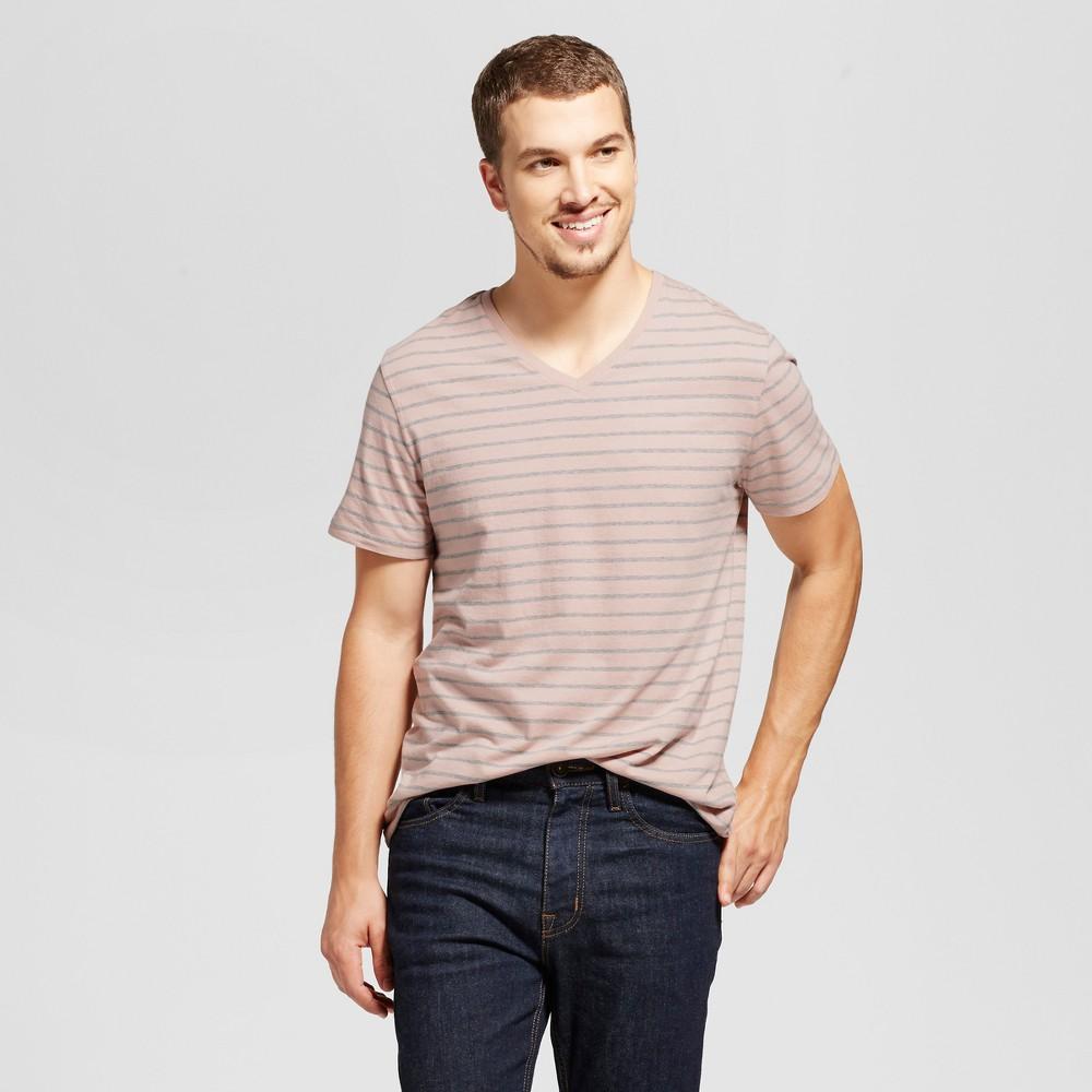 Mens Standard Fit Micro Stripe Short Sleeve V-Neck T-Shirt - Goodfellow & Co Pink L