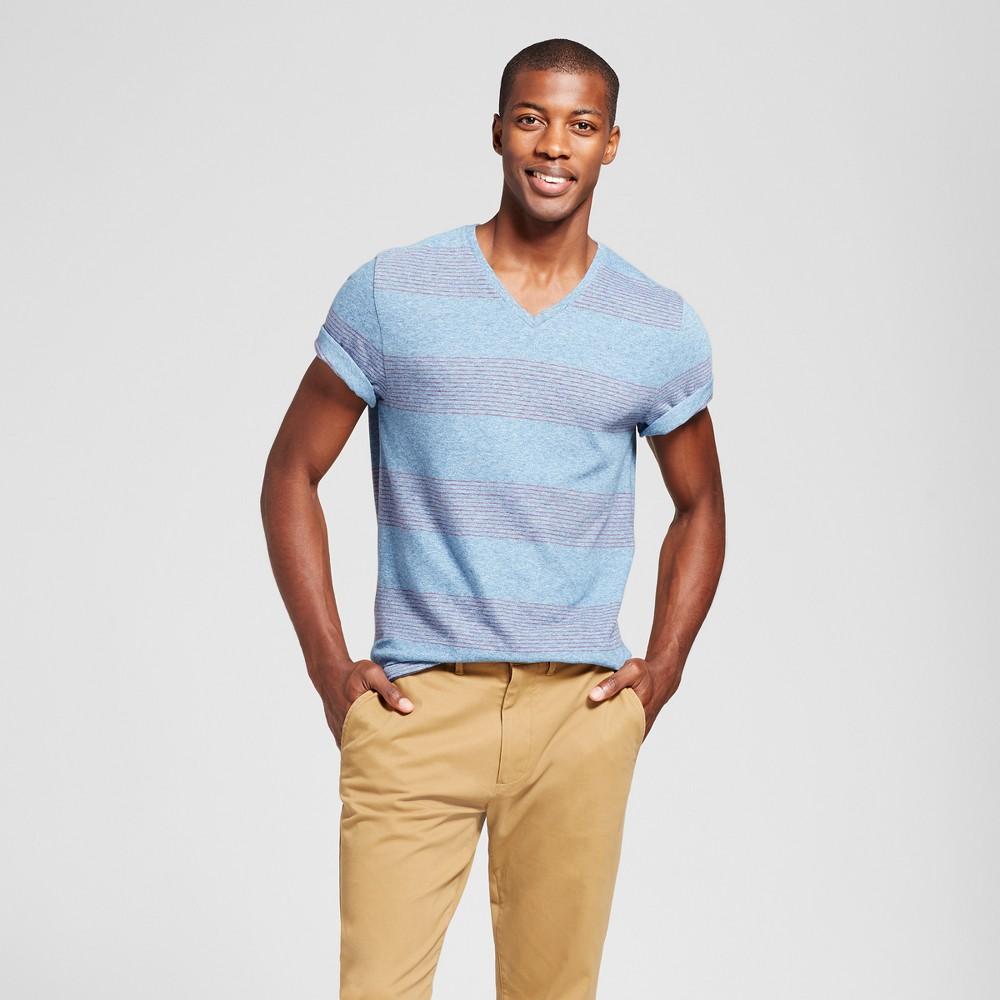 Mens Standard Fit Striped Short Sleeve V-Neck T-Shirt - Goodfellow & Co Slate Blue XL