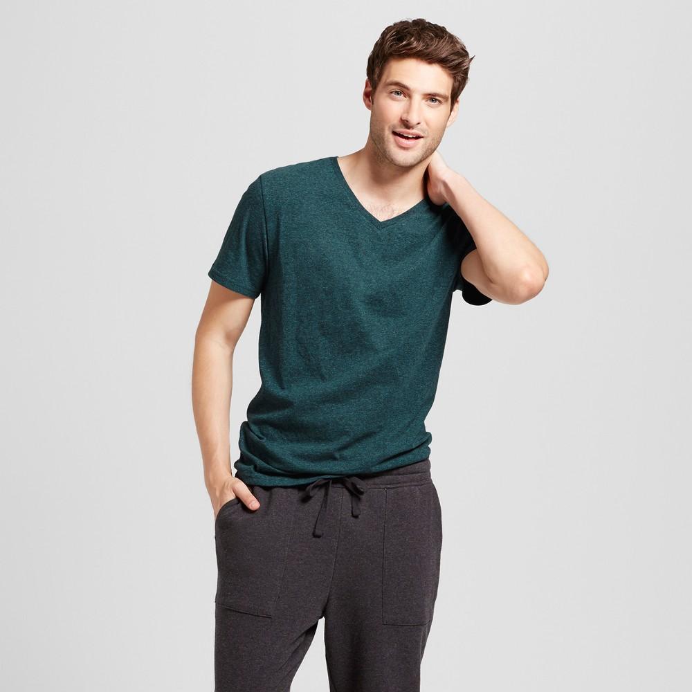 Mens Standard Fit Heathered Short Sleeve V-Neck T-Shirt - Goodfellow & Co Green XL