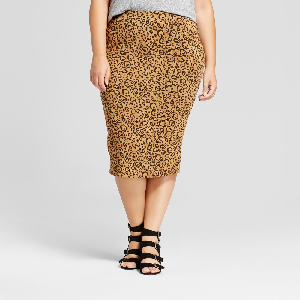 Womens Plus Size Ribbed Animal Print Midi Skirt - Ava & Viv Brown 2X