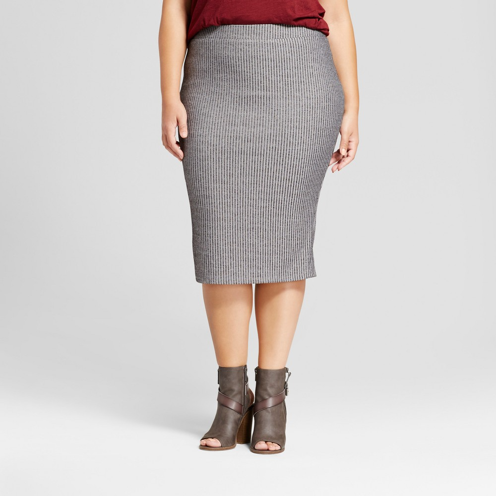 Womens Plus Size Ribbed Midi Skirt - Ava & Viv Gray 2X