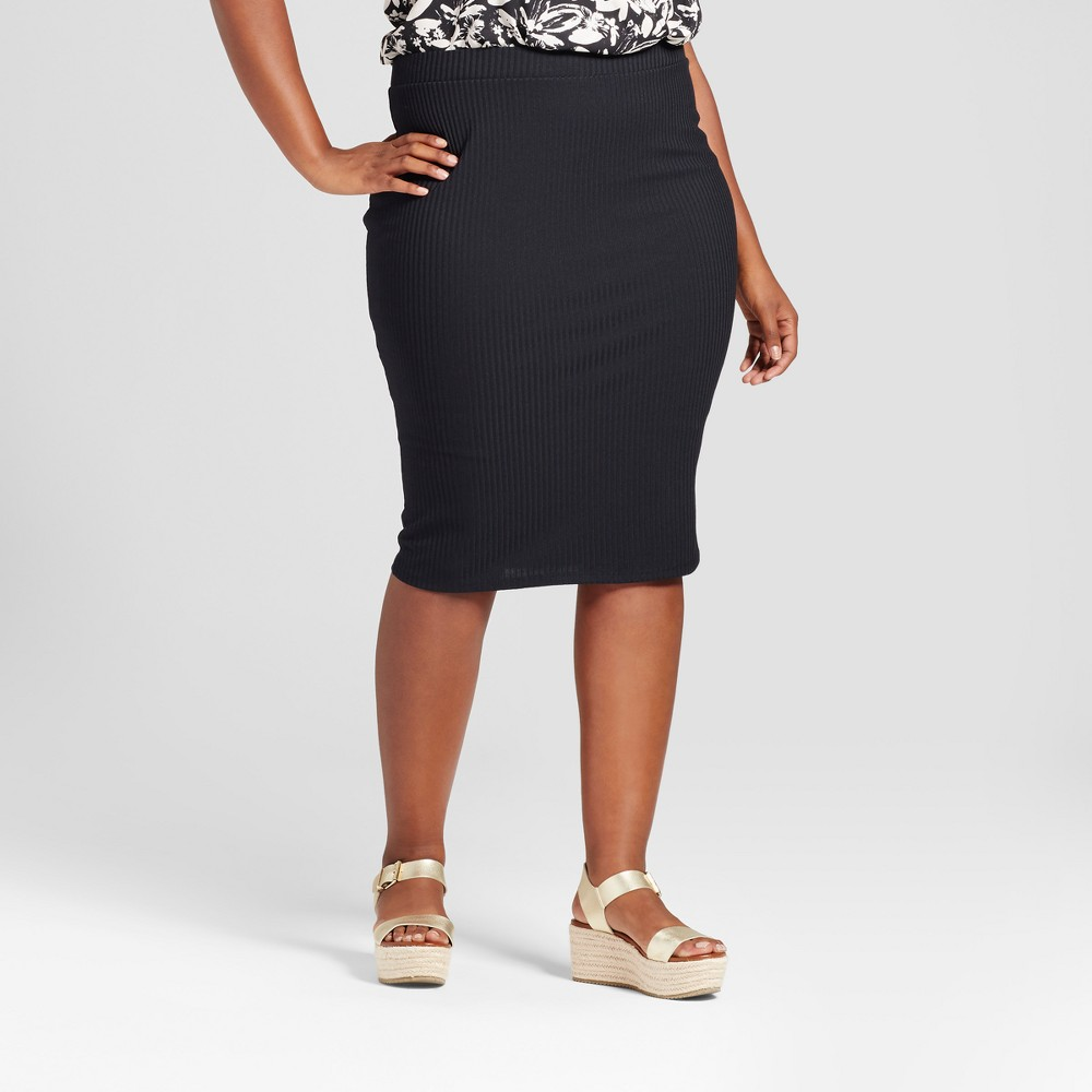 Womens Plus Size Ribbed Midi Skirt - Ava & Viv Black 3X