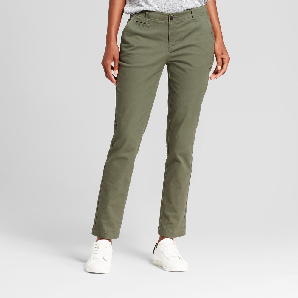 Womens Straight Leg Slim Chino Pants - A New Day Olive (Green) 16