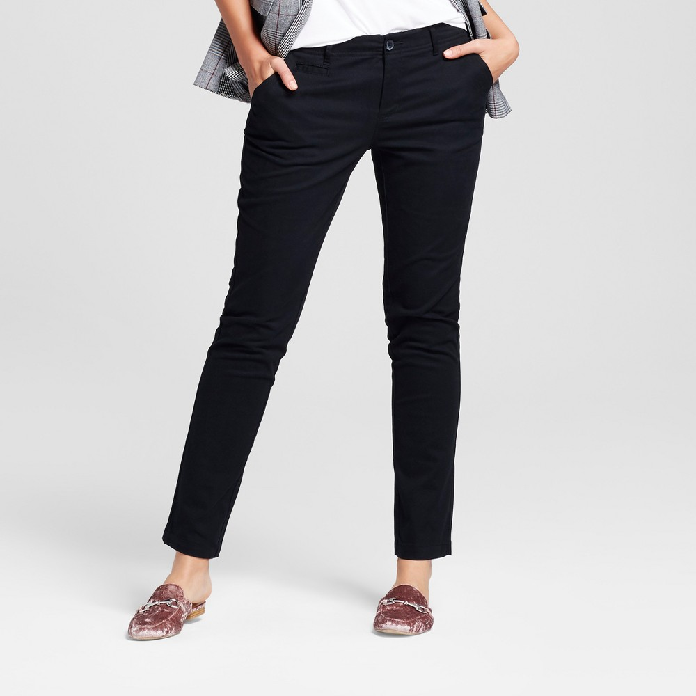 Womens Straight Leg Slim Chino Pants - A New Day Black 18