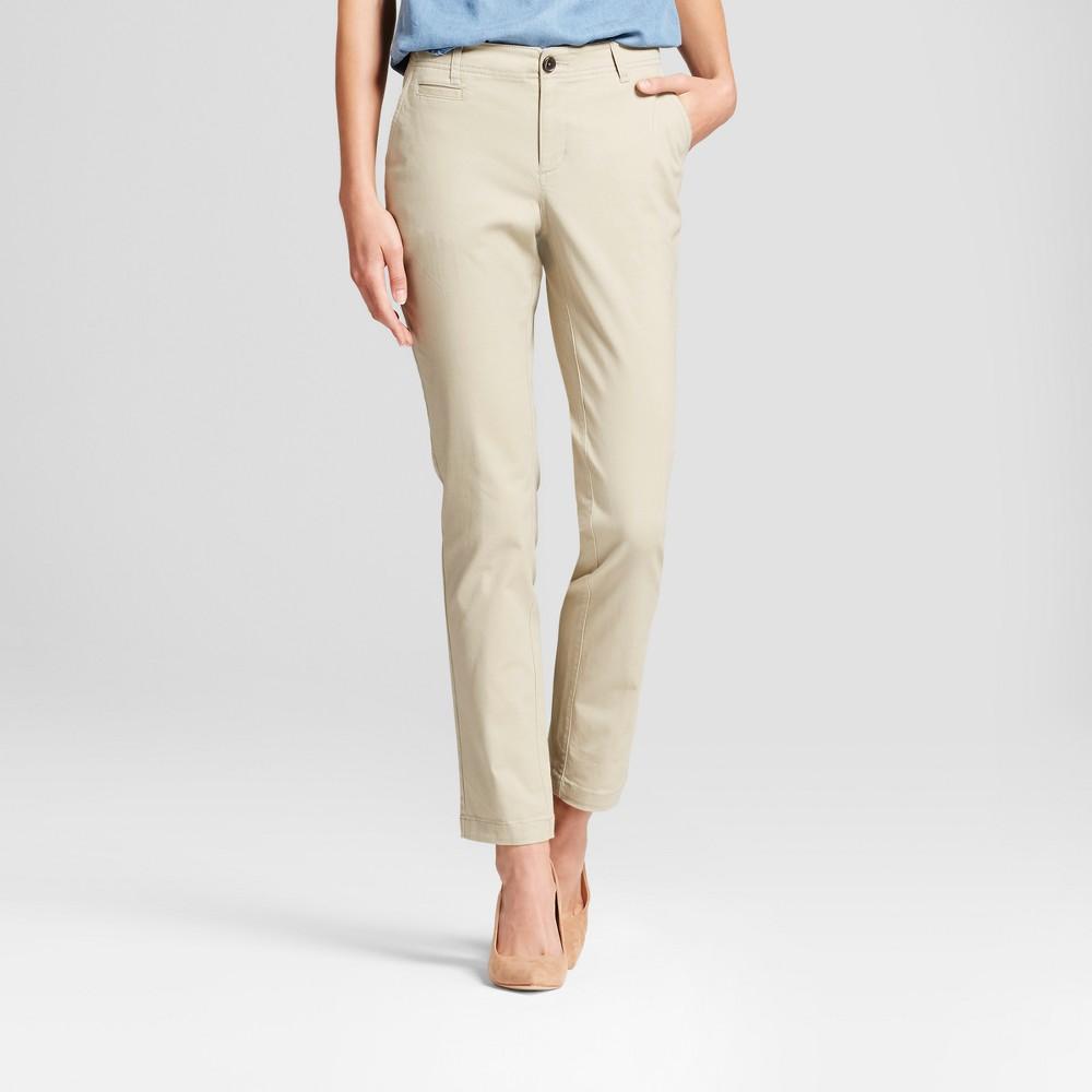 Womens Straight Leg Slim Chino Pants - A New Day Khaki (Green) 8