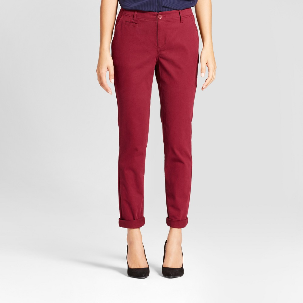 Womens Straight Leg Slim Chino Pants - A New Day Maroon (Red) 8