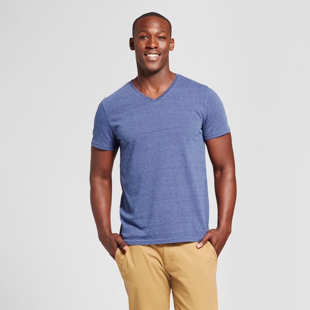 Mens Standard Fit Dash Print Short Sleeve V-Neck T-Shirt - Goodfellow & Co Dark Blue S
