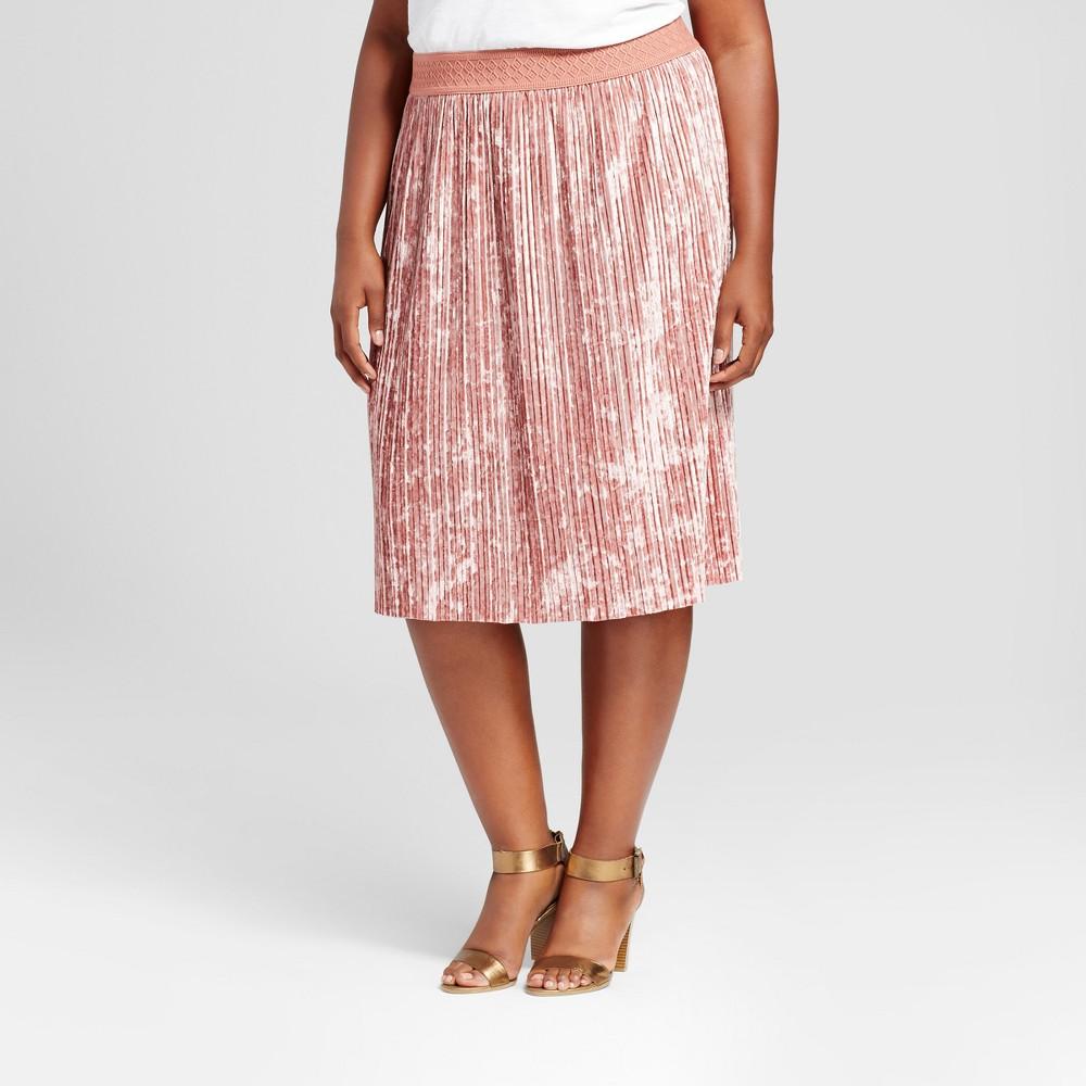 Womens Plus Size Velvet Pleated Skirt - Ava & Viv Red 2X