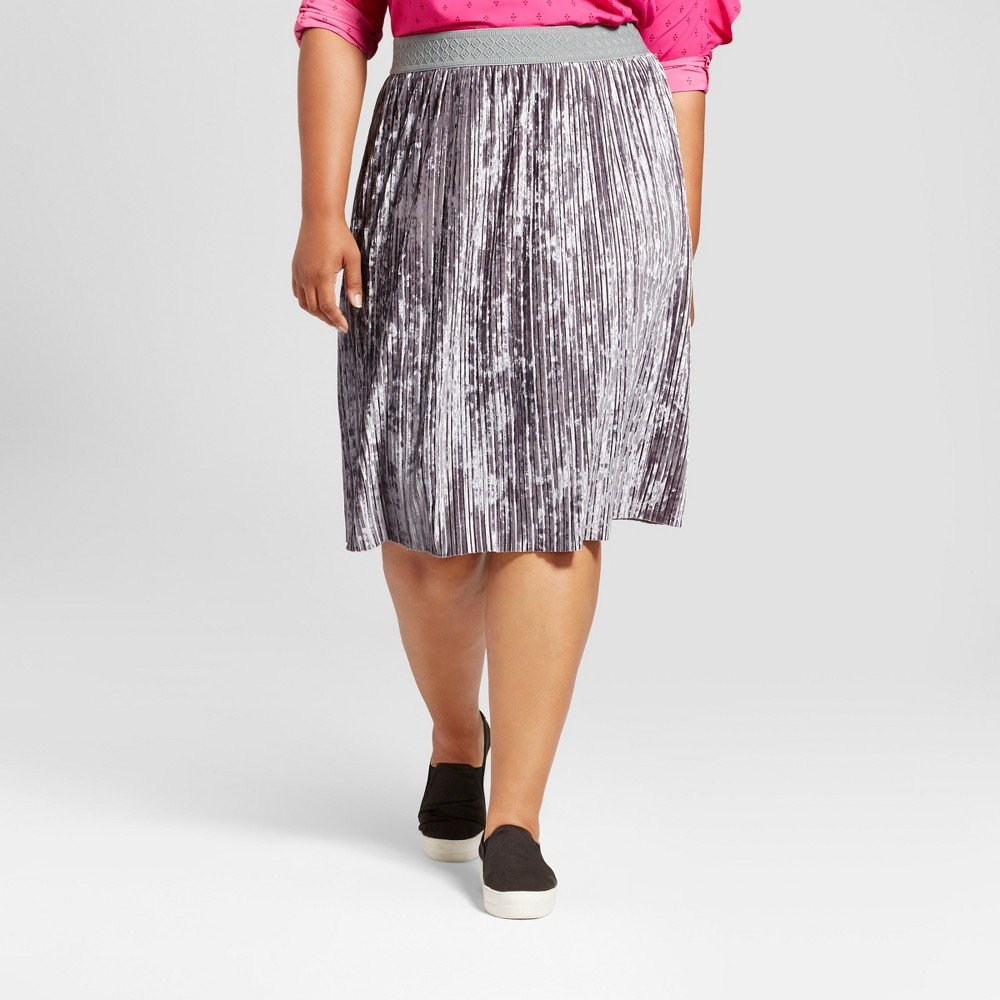 Womens Plus Size Velvet Pleated Skirt - Ava & Viv Sterling Gray 1X