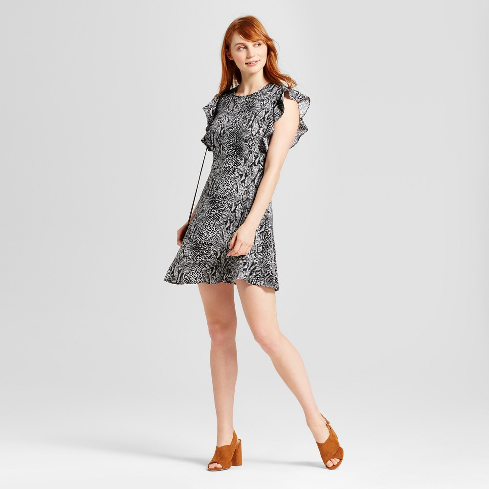 Womens Ruffle Sleeve Fit & Flare Dress - Who What Wear Snakeskin XS