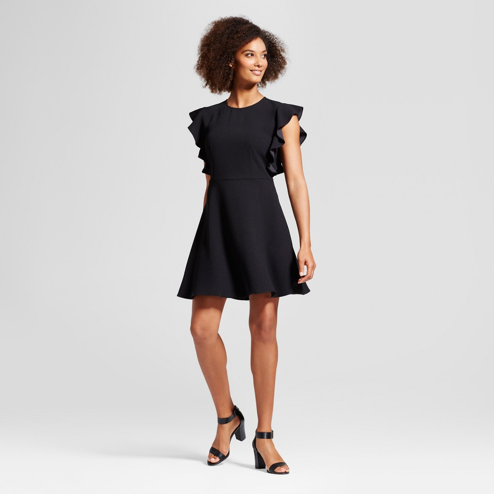 Womens Ruffle Sleeve Fit & Flare Dress - Who What Wear Black XS