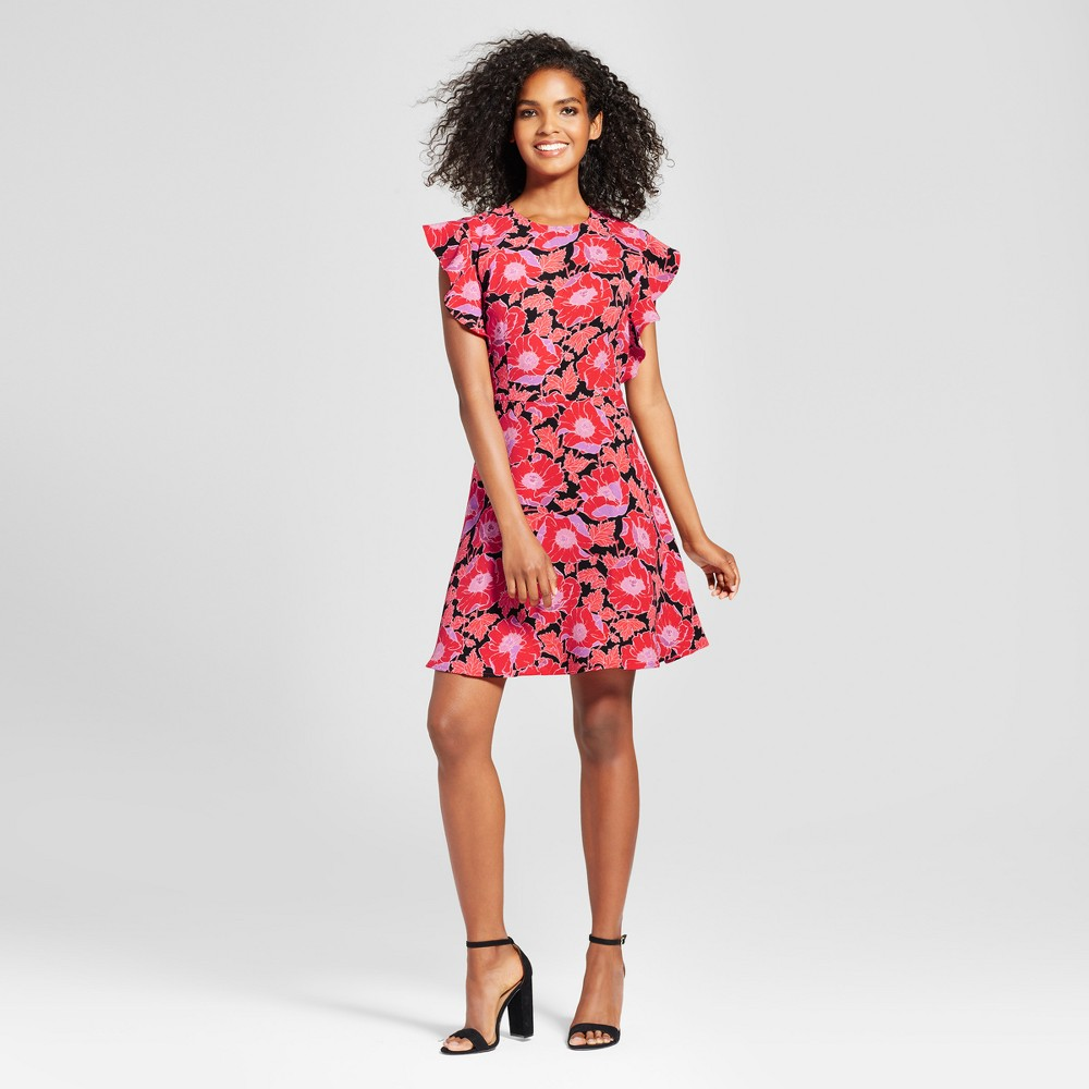 Womens Ruffle Sleeve Fit & Flare Dress - Who What Wear Orange Floral L