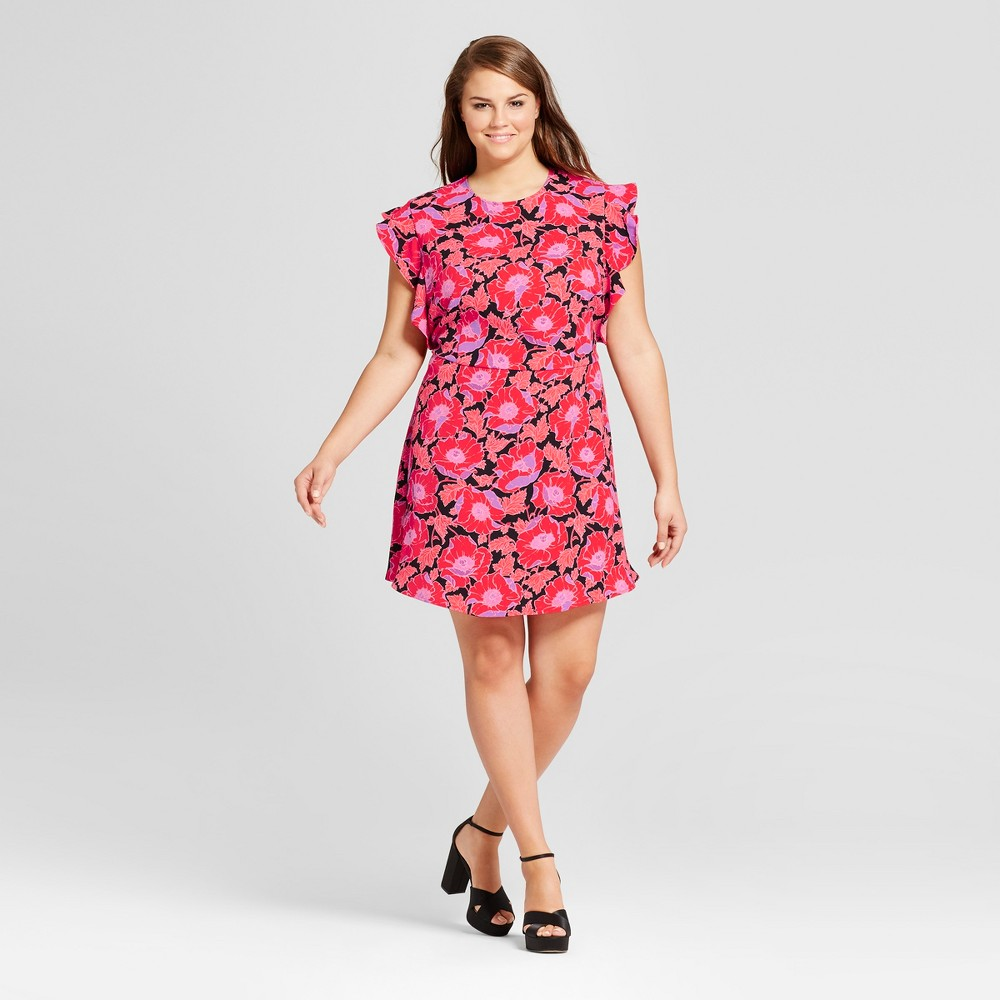 Womens Plus Size Ruffle Sleeve Fit & Flare Dress - Who What Wear Orange Floral 1X