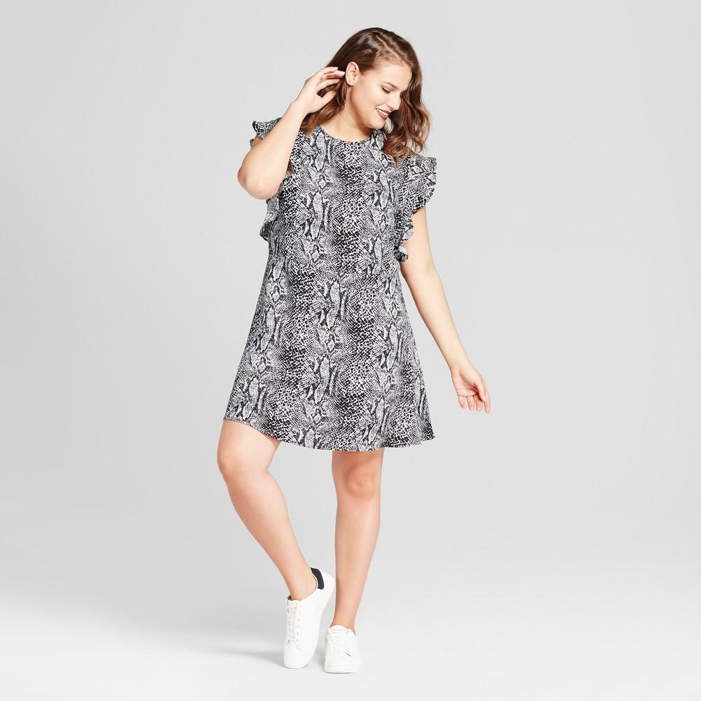 Womens Plus Size Ruffle Sleeve Fit & Flare Dress - Who What Wear Snakeskin X